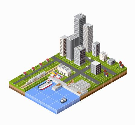 マリーナと港。貨物船の視点で。船のためのデザインを設定します。  イラスト・ベクター素材