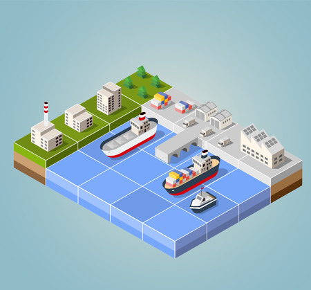 Seaport with the marina. Cargo ships in perspective. Set design for the ships.