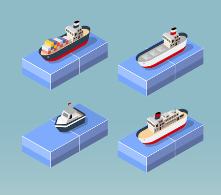 Cargo ships in perspective. Set design for the ships.