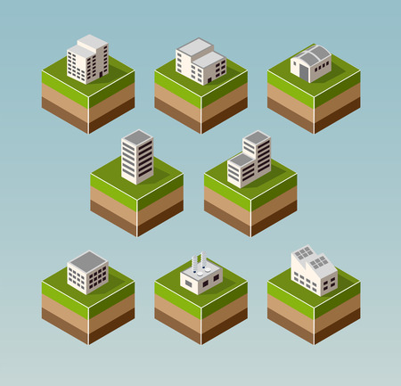 residential neighborhood: Set Isometric houses with elements of the landscape
