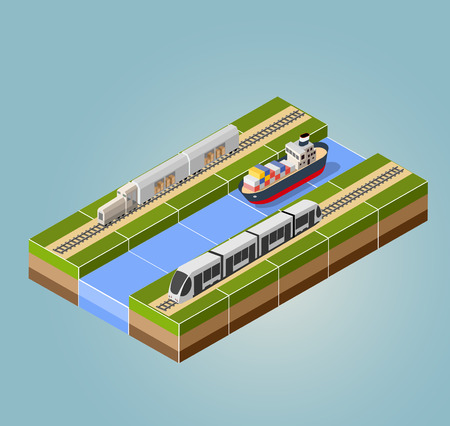 High-speed train with cargo ship with an isometric landscape