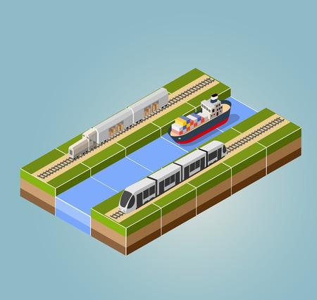 Tren de alta velocidad con la nave de carga con un paisaje isométrica Ilustración de vector