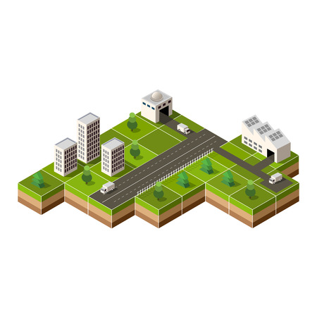 city center: Vector isometric city center on the map with lots of buildings, Illustration