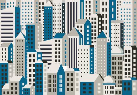 Fondo urbano de edificios, casas, rascacielos. Para la decoración y la creatividad en el tema de diseño urbano e industrial. Ilustración de vector