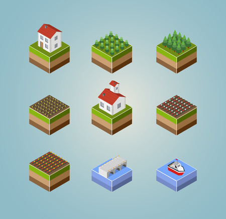 rural road: Set of objects isometric landscape countryside farm, harvest, and rivers.