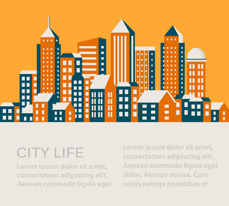 shops street: City infographics in a flat style of the houses and buildings Illustration