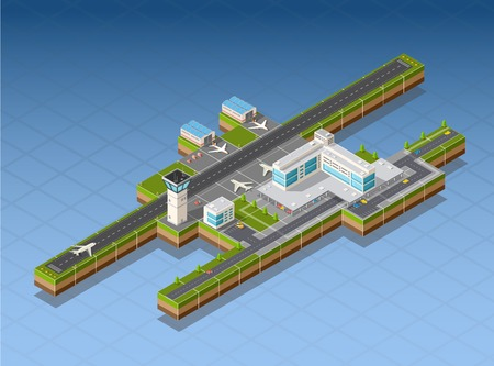 Airport terminal for arrival and departure of aircraft and passengers traveling Stock Illustratie