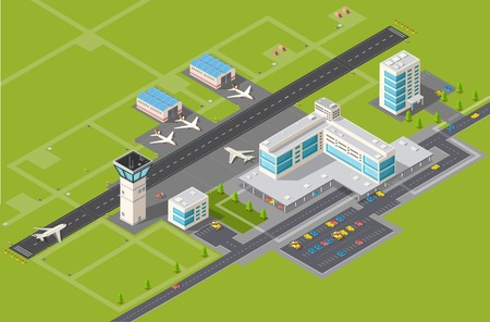 airport business: Airport terminal for arrival and departure of aircraft and passengers traveling Illustration