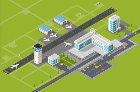 mosca: Terminal del aeropuerto para la llegada y salida de los aviones y los pasajeros que viajan Vectores