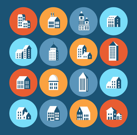 urban style: Flat colored building urban style in the form of icons