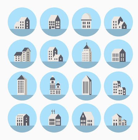 A set of icons in a flat urban style houses and buildings Illustration