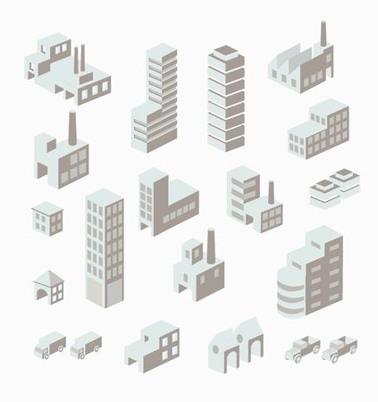 building: A set of urban and industrial buildings in the isometric