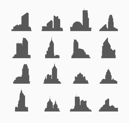 city building: silhouette of city building set of buildings for design and creativity