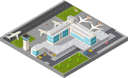 landing: Isometric map of the city airport, the trees and the flight of construction and building, terminal, planes and cars vector illustration.