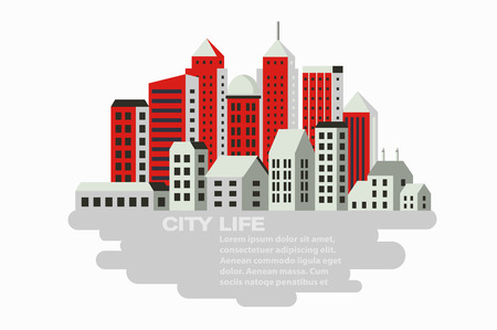 city building: City building in a flat style of the houses and vector illustration Illustration