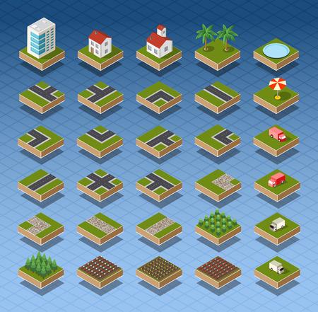 Isometrische city kaart weg, bomen en gebouwen huis elementen set geïsoleerd vector illustratie.