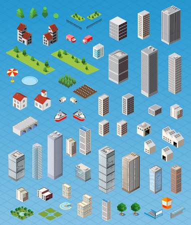 city building: Isometric city map road, trees and building home elements set isolated vector illustration.