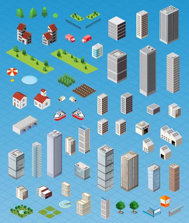 Isometrica mappa della città su strada, alberi e la costruzione di elementi di casa set di illustrazione vettoriale isolato. Vettoriali