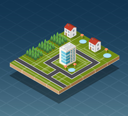 Isometric city map road, trees and building home elements  vector illustration.  イラスト・ベクター素材