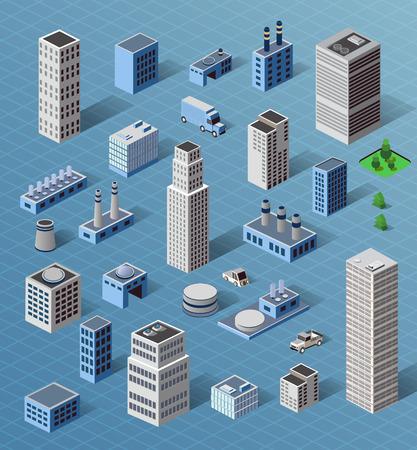 産業および住宅の都市工業用建物、家屋や視点で建物のセット  イラスト・ベクター素材