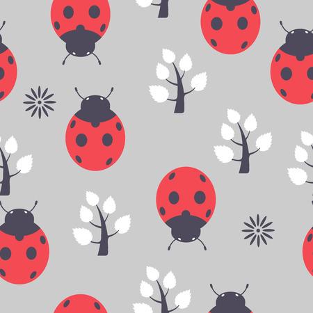 Das Muster der Marienkäfer nahtlose kann repeating.It als Dekoration für Stoffe, Tapeten, Muster für eine Vielzahl von Waren, Produkte oder für Design und Kreativität nutzen. Standard-Bild - 42542250