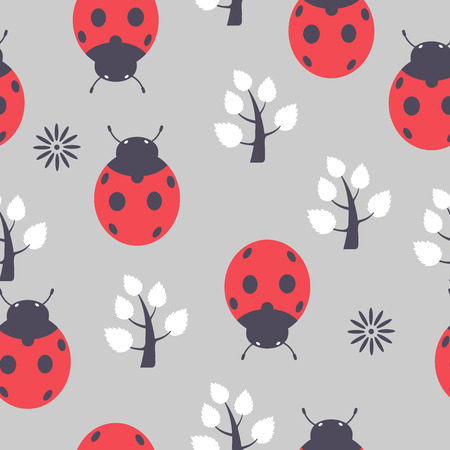 used items: The pattern of ladybirds seamless, repeating.It can be used as decoration for fabrics, wallpaper, pattern for a variety of goods, items or for design and creativity.