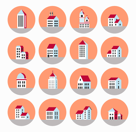 urban style: A flat city of urban style houses and buildings Illustration