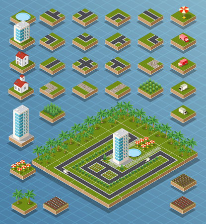 map toolkit: Vector isometric city center on the map with lots of buildings, skyscrapers, factories, and parks