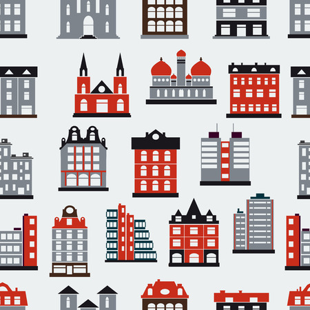 home exterior: Seamless repeating pattern on the urban theme