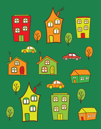 used items: The pattern of colored houses. It can be used as decoration for fabrics, wallpaper, illustration for a variety of goods, items or for design and creativity.