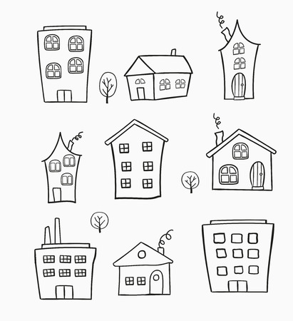 The pattern of the sketches of houses. It can be used as decoration for fabrics, wallpaper, pattern for a variety of goods, items or for design and creativity.