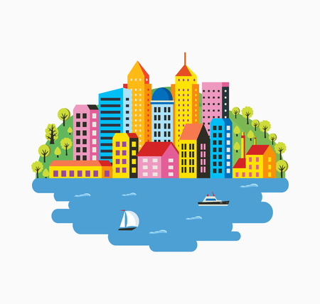 construccion: City infographics in a flat style of the houses and buildings. Landscapes of the mountains in a flat style for design and designing web graphics.