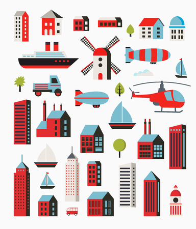 architectural styles: A set of urban objects in a flat style, including trees and vehicles, balloon and boats and yachts.