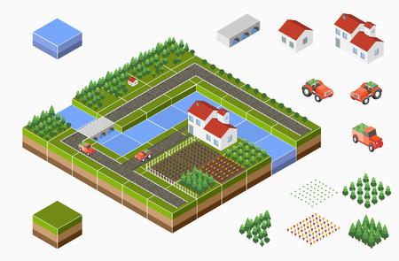 Paesaggio isometrica di campagna con fattoria, trattore, la raccolta, i letti e il fiume.