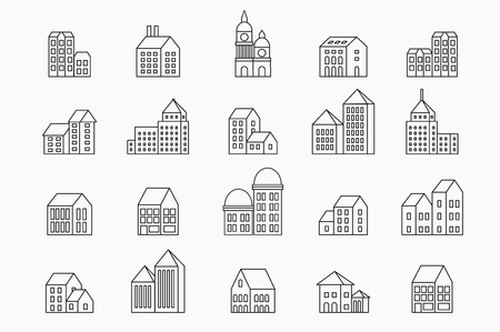 architecture design: Vector set of linear urban buildings and illustrations of houses and architectural signs. For website design, business cards, invitations and flyers on the urban theme with a linear fashion graphics.