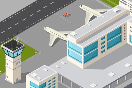 Isometric illustration city airport with aircraft control tower, terminal building and runway.