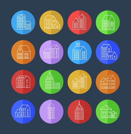 building icon: Vector set of linear urban buildings and illustrations of houses and architectural signs. For website design, business cards, invitations and flyers on the urban theme with a linear fashion graphics.