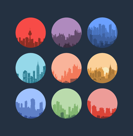 used items: Set of urban landscapes in a flat style.It can be used as decoration for fabrics, wallpaper, pattern for a variety of goods, items or for design and creativity. Illustration