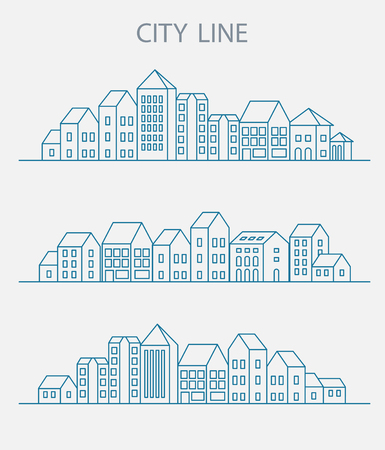 Vector set of linear urban buildings and illustrations of houses and architectural signs. For website design, business cards, invitations and flyers on the urban theme with a linear fashion graphics.