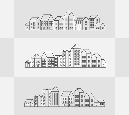 tower block: Vector set of linear urban buildings and illustrations of houses and architectural signs. For website design, business cards, invitations and flyers on the urban theme with a linear fashion graphics.