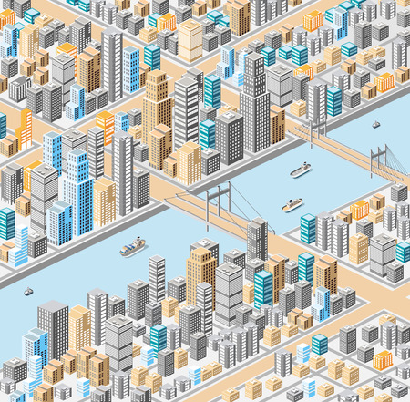 Vector isometric city center on the map with a large number of buildings, skyscrapers, river, bridges and ships Illustration