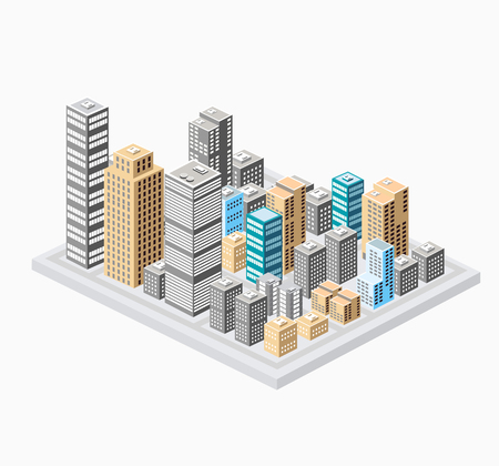 tridimensional: Background of the city  buildings, skyscrapers and houses. Urban drawings in a flat style. Illustration