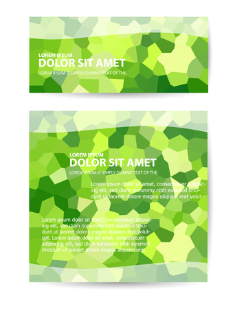 Vector template flyer form with colorful abstract geometric patterns art style details and company logo Illustration