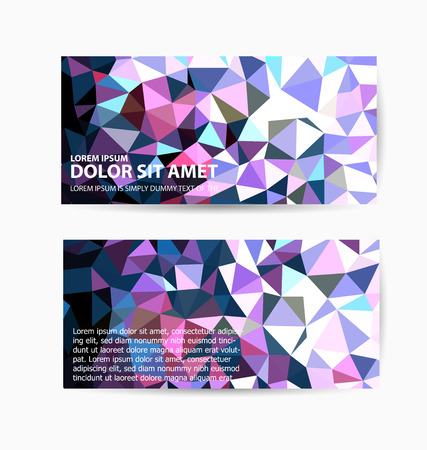 Vector template flyer form with colorful abstract geometric patterns art style details and company logo Stok Fotoğraf - 47648527