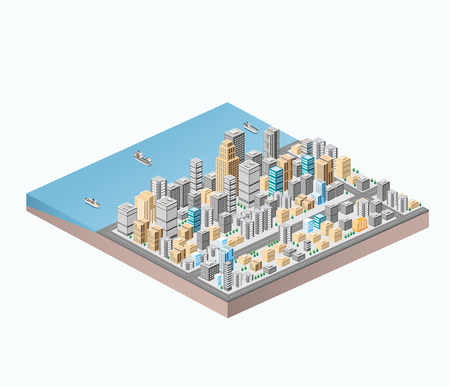 Vector isometric city center on the map with a large number of buildings, skyscrapers, roads and sea coast