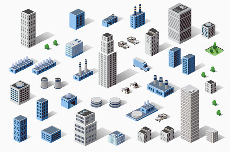 industriales: Conjunto de industriales y residenciales urbanas industriales edificios, casas y edificios en perspectiva Vectores
