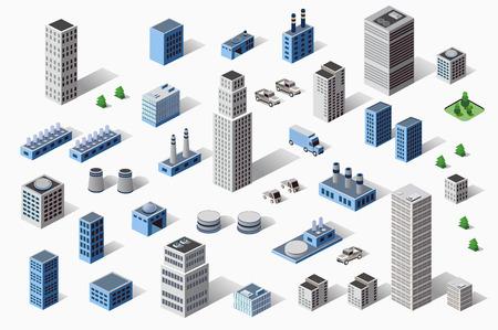 Set mit Industrie-und Wohnungsbau städtisch-industriellen Gebäude, Häuser und Gebäude in der Perspektive