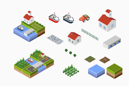 rural road: Isometric landscape of countryside with farm, tractor, harvest, the beds and the river.