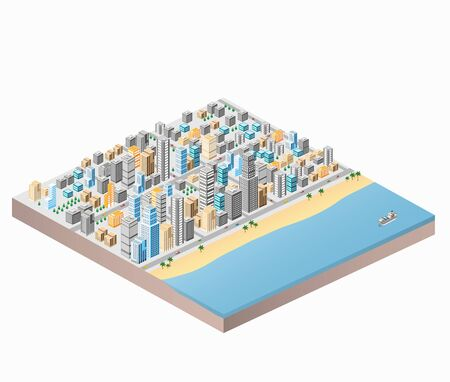 Waterfront City beach and palm trees isometric city map with lots of buildings, skyscrapers, roads and sea coast 일러스트