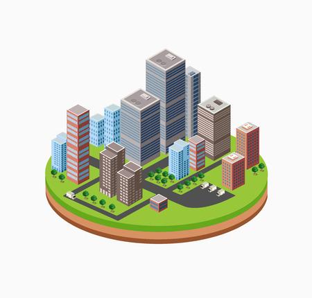 Skyscrapers, urban high-rise home. Set of objects for urban design. Ilustração